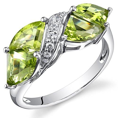 14-Karat-White-Gold-Tri-Fan-Cut-395-carats-Peridot-Diamond-Ring
