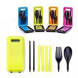 1セットのプラスチック製食器セット アウトドア用 旅行用ピクニック箸 スプーンフォークの食器(緑)