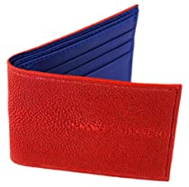 Tom Barrington Stingray Leather Billfold Wallet with ID Holder, Red with Navy Blue Interior, One Size