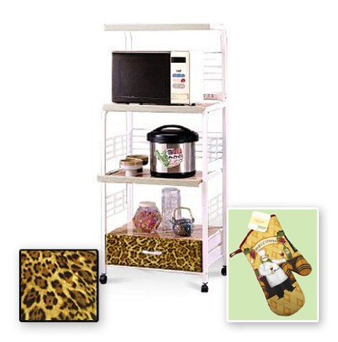 New White Finish Rolling Microwave Cart With A Leopard Animal Print Theme Includes Free Oven Mitt