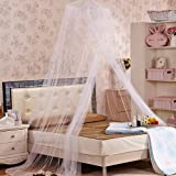 W8sunjs New Round Dome Bed Canopy Netting Princess Mosquito Net (white)
