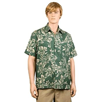 Green Palm & Plumeria Hawaiiabera Shirt size xxl