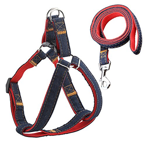 URPOWER Dog Leash Harness Adjustable & Durable Leash Set & Heavy Duty Denim Dog Leash Collar for Small and Large Dog, Perfect for Daily Training Walking Running (Small 5-20lbs) (Leash Harness compare prices)