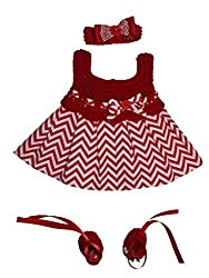 MiC Crafts Baby Girl 3 Piece Chevron Dress Set Newborn Red and White