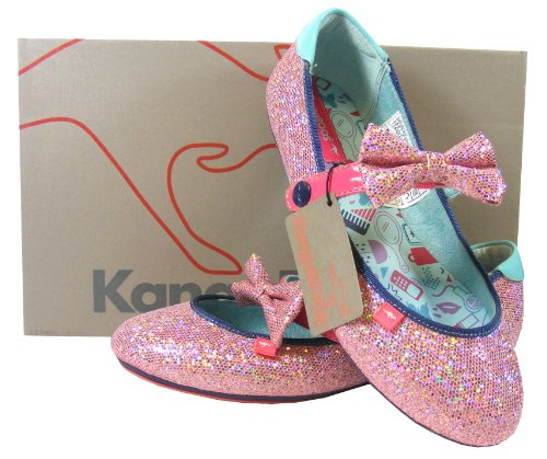 Ladies Pink Glitter KANGAROOS Bow Ballerinas Flats Dolly Shoes