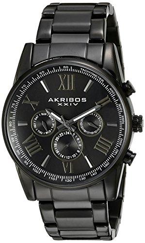 Akribos-XXIV-Mens-AK904BK-Black-Multi-Function-Quartz-Bracelet-Watch