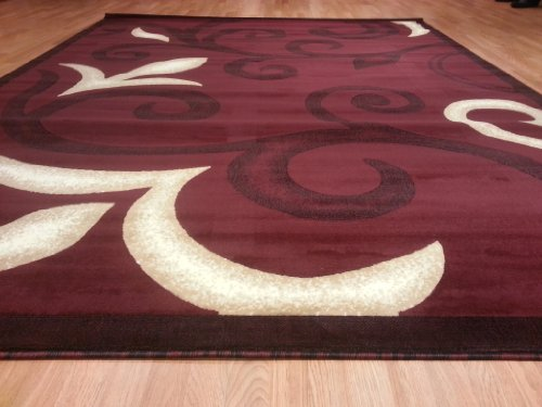 E525 Contemporary Modern Transitional Branch Leaves Design Burgundy Red 5x8 Actual Size 5'3x7'2 Rug