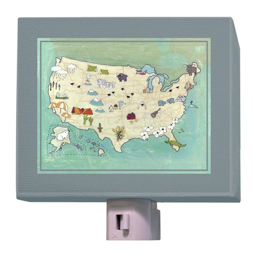 "Oopsy Daisy Camp USA Night Light, Aqua, 5"" x 4"""