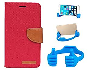 Aart Fancy Wallet Dairy Jeans Flip Case Cover for MicromaxA104 (Red) + Flexible Portable Mount Cradle Thumb OK Designed Stand Holder By Aart Store.