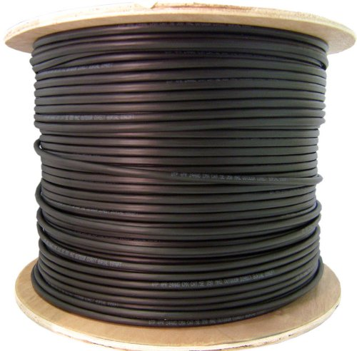 C&E 1000 feet CAT6 23AWG 4PR Direct Burial Outdoor Waterproof UV Rated  Ethernet Cable Black