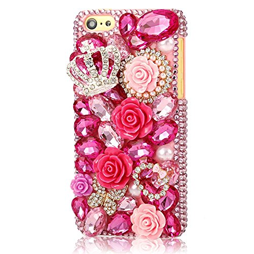 Find Cheap EVTECH(TM) for Iphone 5C 3D Handmade Bling Crystal Butterfly and Colorful Flowers Rhinest...