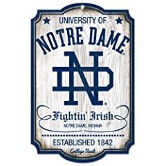Buy NCAA College Vault Notre Dame Fighting Irish 11-by-17 Wood Sign by WinCraft