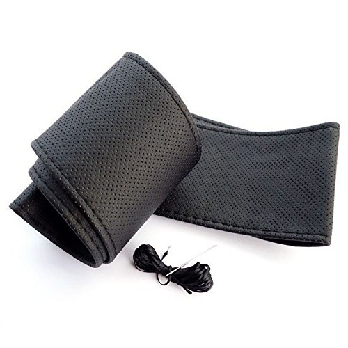 Commart SIZE M Steering Wheel Cover With Needles & Thread DIY BLACK Leather Ships From USA (Steering Wheel Cover Ml 350 compare prices)