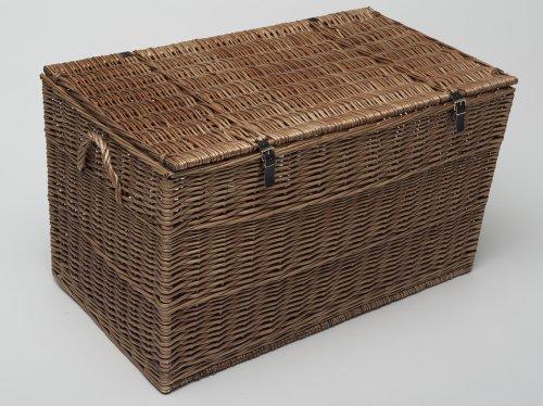 Storage Trunk Extra Large 90cm Honey Wicker Blanket Box