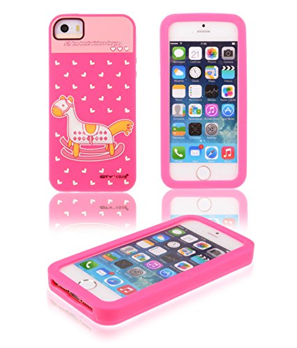 Kiss Gold Childlike 3D Little Rocking Horse&Heart Soft Silicone Gel Protective Case Cover For Apple Iphone 5/5S (Hot Pink) front-580621