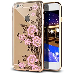 iPhone 6S Plus Case,iPhone 6 Plus Case,NSSTAR Pink Lace Butterfly Floral Flower Glitter Bling Crystal Rhinestone Diamond Clear Rubber Plating TPU Soft Bumper Case Cover for iPhone 6/6S Plus 5.5''