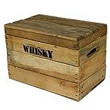 Whisky-Holzkiste-klein-28x42x23cm-Vintage-Weinkiste-Obstkiste-mit-Deckel-und-Aufdruck