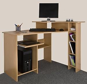 Compact Corner Desk Beech Wood Amazon Co Uk Office
