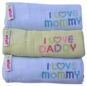 Minene - Gasas para bebés, diseño I Love Mummy/ I Love Daddy, color azul/verde (3 unidades)  Bebé revisión y descripción más