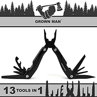 Grown Man™ Survivor Multi Tool - Includes Pliers, Knife, Saw, and more - Best Multitool for Hunting & Camping - Survival Gear - Tactical Gear by Grown Man Tools