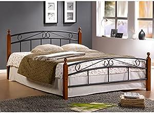 Lit Design en metal noir avec pieds de lit en bois malaisiens marron, Dim: 140 x 200 cm -PEGANE-