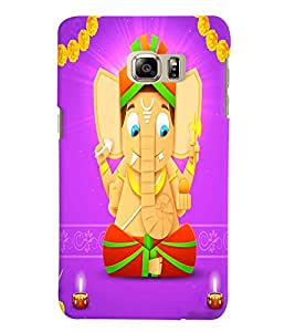 Fuson Premium Jai Ganesha Printed Hard Plastic Back Case Cover for Samsung Galaxy Note 5 Edge