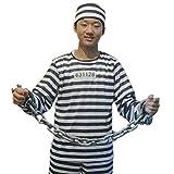 【福美康】 コスプレ 囚人 コスチューム セット 帽子 囚人服 ズボン 囚人番号シール 鎖 手錠 スタンプ 衣装 ハロウィン クリスマス パーティ STAMP 8 (鎖付き 5点セット)
