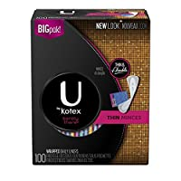 U by Kotex Barely There Thin Liners, Unscented, 100 Count