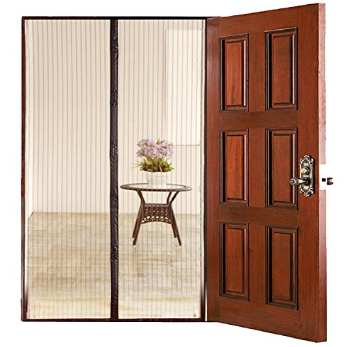 Homee hands free magnetic mesh screen door retractable for for Accordion retractable screen doors