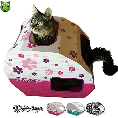 Cardboard Cat House For A Happy Cat *Great Mothers Day Gifts* The Kitty Camper Is The Perfect Cat Playhouse And Cat Bed For Indoor Cats - Just Add Cat Toys & Feel Good About Leaving Your Cat At Home-*FREE* EBook - Money Back Guarantee - PRETTY IN PINK