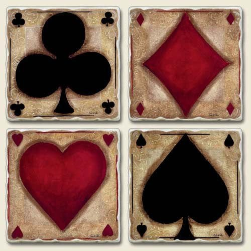 Assorted Coaster set~ Ante Up ~4 Tumbled Tile Drink Coasters ~ code 664