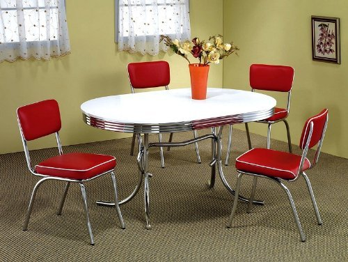 5pcs Retro Chrome Plated Oval Dining Table & 4 Red Chairs Set