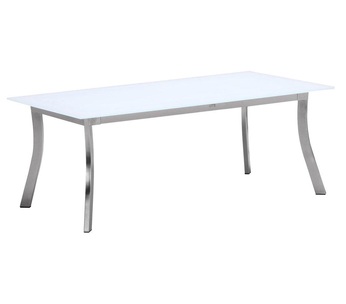 Dehner Living Loungetisch Elodie, ca. 120 x 60 x 45 cm, Edelstahl, silber / weiß