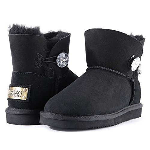 yjnb in inverno neve stivali pantaloncini da donna stivali in pelle calda spessore Tube scarpe scarpe da donna, Black, 35EU/3UK/12US