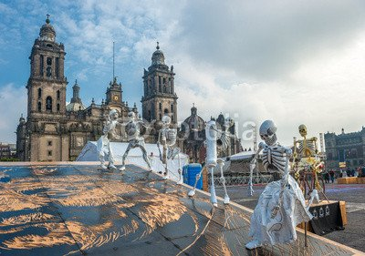 Alu-Dibond-Bild-30-x-20-cm-Day-of-the-dead-in-Mexico-city-Dia-de-los-muertos-Bild-auf-Alu-Dibond