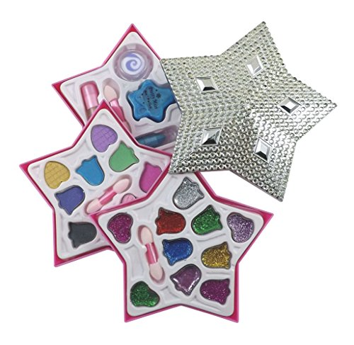 Petite Girls Silver Star Shaped Cosmetics Play Set - Fashion Makeup Kit for Kids - 1