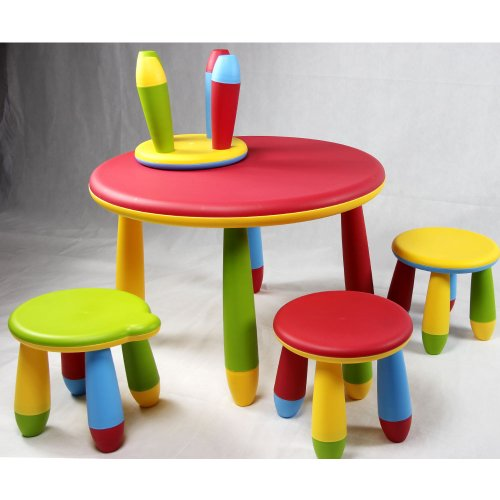 Kids Multi-Color Table And 4 Stools Set, Great For Both Indoor Or Outdoor Use