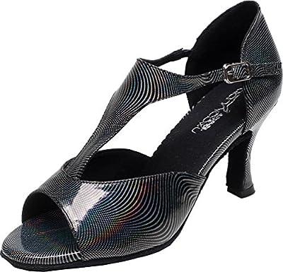 Abby Q-6199 Womens Latin Tango Cha-cha Ballroom Custom Heel Peep-toe T-bar PU Dance-shoes