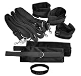 ZIOOER Fetish Bed Restraints Bondage Love Cuff Bracelets Set, Black