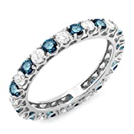 1.50 Carat (ctw) 14K White Gold Round White & Blue Diamond Eternity Wedding Stackable Ring Band 1…