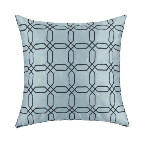 "Euphoria Contempo Decorative Throw Pillow Cushion Covers Pillowcase Shell Faux Silk Light Blue Ground Brown Geometric Embroidery 18"" X 18"" front-705488"
