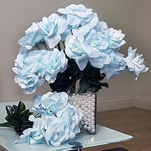 252 Silk Open Roses Wedding Flowers Bouquets Light Blue
