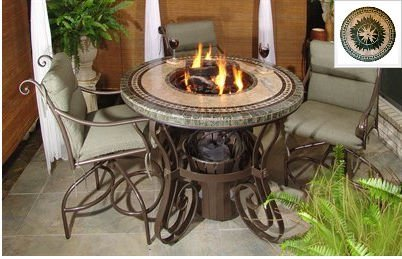 "Traditional Style Fire Table-36"" Tall X 48"" Diameter, Morocco Fire Design, Greens Granite Colors, Bronze Powder Coat"
