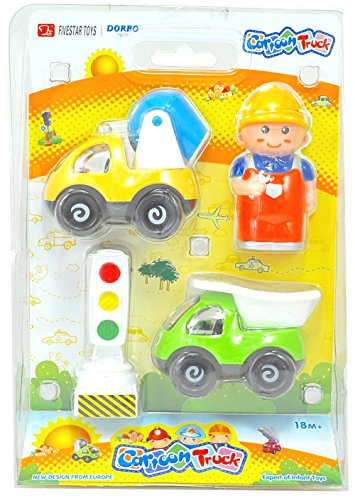 Silli Me: Cartoon Truck - Construction Worker 4 piece Play Set with Traffic Signal, Dump Truck, and Cement Mixer - 1