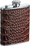 Visol Crocodile Leather Liquor Flask, 6-Ounce, Bronze