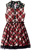 Beautees Big Girls Plaid Shirt Dress with Ditsy Collar