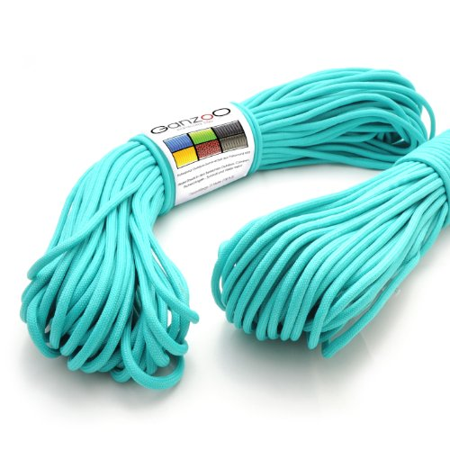 Lot-de-2-Multi-Fonction-Manteau-noyau-en-corde-en-nylon-en-trs-solide-et-parachute-indchirable-paracorde-550-550lbs-longueur-totale-62-M-200-ft-Couleur-Turquoise-Important-Ce-paracorde-Corde-ne-convie