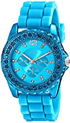 XOXO Women's XO8043 Rhinestone Accent Turquoise Silicone Strap Watch