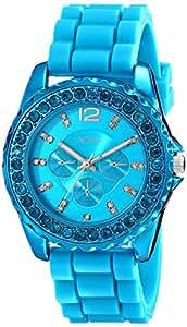 XOXO Women's XO8043 Rhinestone Accent Turquoise Silicone Strap Watch