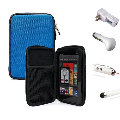 Professional Executive Deluxe Nylon Slim Office Protective Hard Cube Case For Google Nexus 7 Inch Tablet + Includes A White Travel Usb Car Charger Kit + Includes A White Travel Usb Home Charger + Includes A Professor Pen 3 In 1 Red Laser Pointer / Led Whi